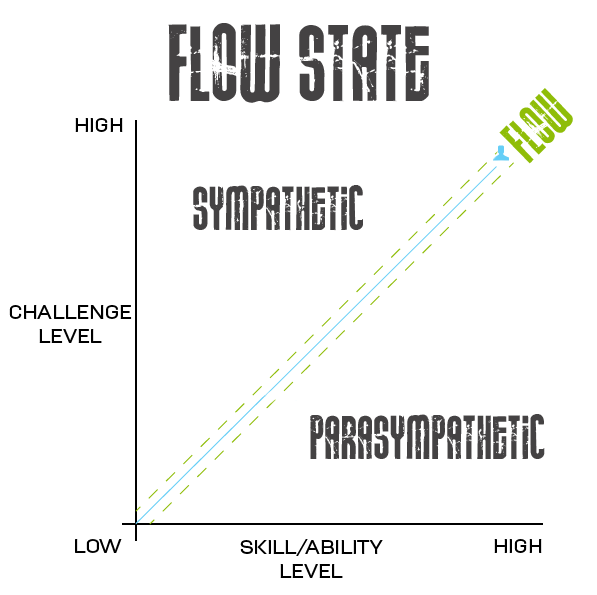flow state, flow diagram, Csikszentmihalyi flow diagram, Parasympathetic and Sympathetic nervous system