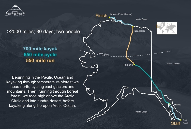 due north alaska expedition map, worlds first endurance expedition, first endurance expedition, full length expedition, alaska full length expedition, endurance athletes, Hazel and Luke Robertson, due north alaska, conquering alaska